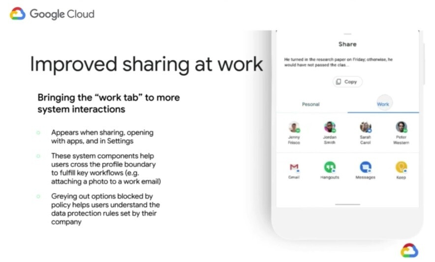 Different options for the Work or Personal settings will appear on the share sheet - The difference between work and personal data is easier to see following changes made in Android 11