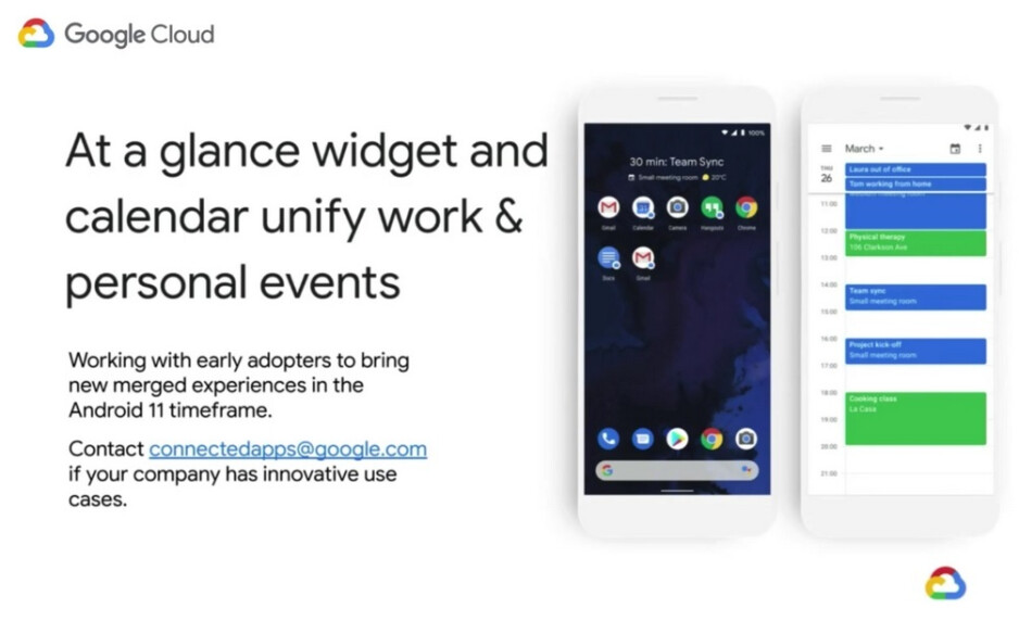 The At a Glance widget and Google Calendar will unify both personal and work events - The difference between work and personal data is easier to see following changes made in Android 11