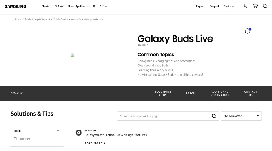 Galaxy Buds Live appears on Samsung support pages two weeks before launch