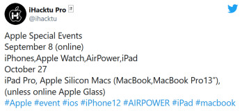 Tipster reveals what could be Apple's plan to hold two events during the third quarter - Red hot rumor calls for September 8th unveiling of the 5G iPhone 12 models, AirPower, more