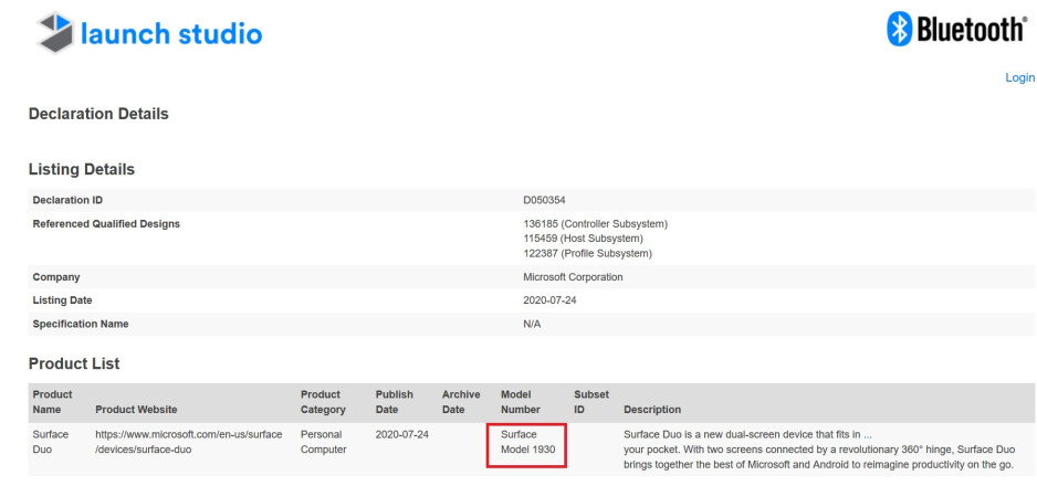 The Surface Duo receives its Bluetooth certification - Surface Duo moves even closer to getting released