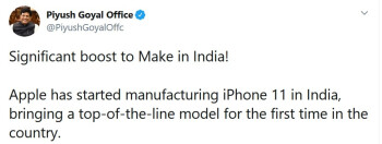 The Apple iPhone 11 is now being assembled in India - Apple is assembling a top-of-the-line iPhone in India for the first time