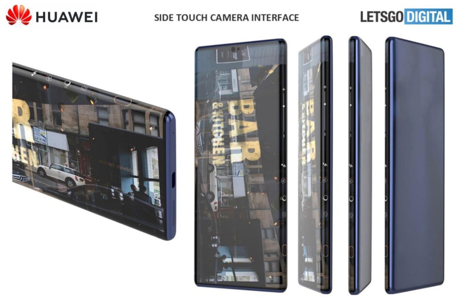 LetGoDigital created a render from a patent illustration showing a touch interface for a phone's camera on the side of a curved waterfall display - Alleged Huawei Mate 40 Pro 5G screen protector confirms a waterfall display for the upcoming flagship