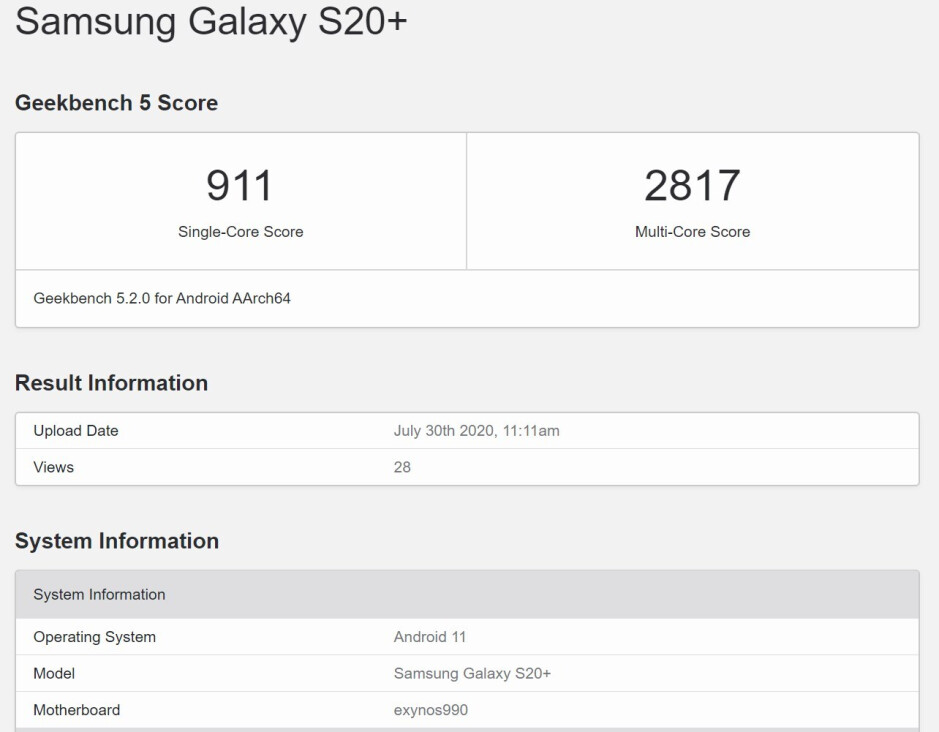 Samsung Galaxy S20+ shows up on Geekbench running Android 11