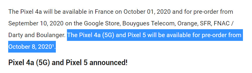 Google Translate version of Google France blog post - Here's when the Google Pixel 5 & Pixel 4a (5G) could be announced