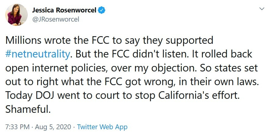 FCC chairwoman Jessica Rosenworcel is not happy with the FCC's decision to fight California in court - DOJ seeks to ban Net Neutrality in California