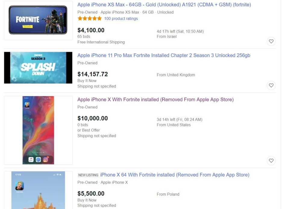 Just a few crazy iPhone with Fortnite listings on eBay - Would you get an iPhone with Fortnite for $10,000?