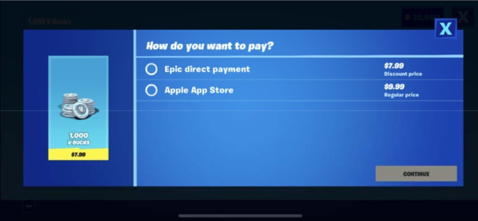 The screen that got Apple enraged - Epic Games dares to challenge the 30% Apple Tax and gets its developer account closed in return