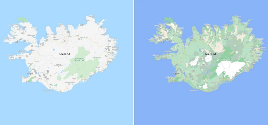 The old look is at left with the updated more detailed image on the right - Updates to Google Maps add more detail to countries and city streets