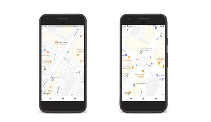 The image on the right contains a more detailed look of the city streets which are shown to scale and with pedestrian islands and more - Updates to Google Maps add more detail to countries and city streets