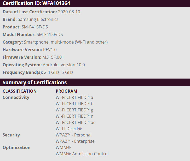 SM-F415F/DS spotted on Wi-Fi Alliance's website - Non-flagship foldable phone from Samsung could be here before the year ends