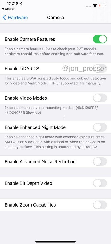 Leak shows camera settings for the iPhone 12 Pro Max - First live shot of 5G Apple iPhone 12 Pro Max shows Apple testing 120Hz refresh rate (VIDEO)