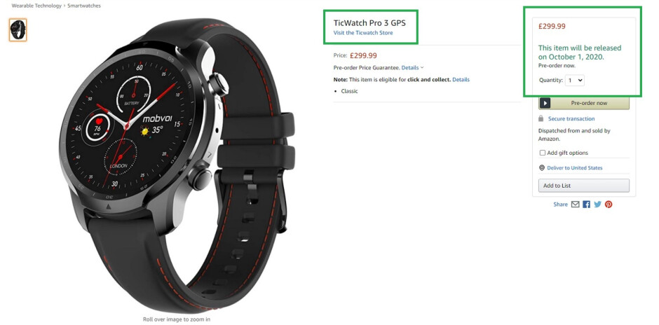 TicWatch Pro 3 with an October 1st release date and a $400 USD price tag - TicWatch Pro 3 can be pre-ordered now from Amazon U.K.