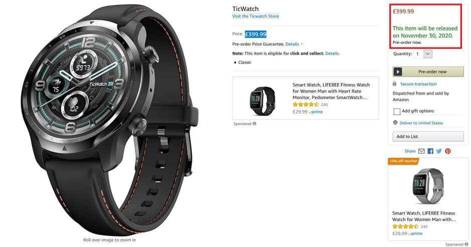TicWatch with a November 30th release date and a higher price tag - TicWatch Pro 3 can be pre-ordered now from Amazon U.K.