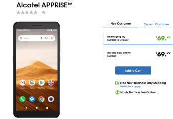 Cricket launches the TCL Apprise, an Android One phone priced at $69 - Cricket launches the TCL Apprise, a $69 Android One budget model