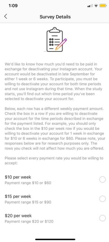 Facebook and Instagram users can get paid to deactivate their accounts before the end of September - Get paid to deactivate your Facebook or Instagram account
