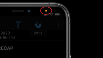 """""""The orange light seen in the corner of this iPhone means that one of the apps on the device is using the phone's microphone - iOS 14.2 developer beta is released; what do those orange and green lights mean on my iPhone screen?"""