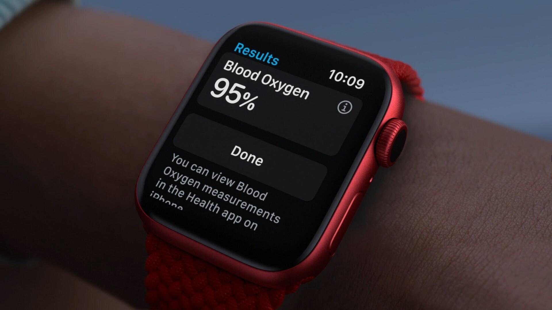 Blood oxygen reading on Apple Watch Series 6