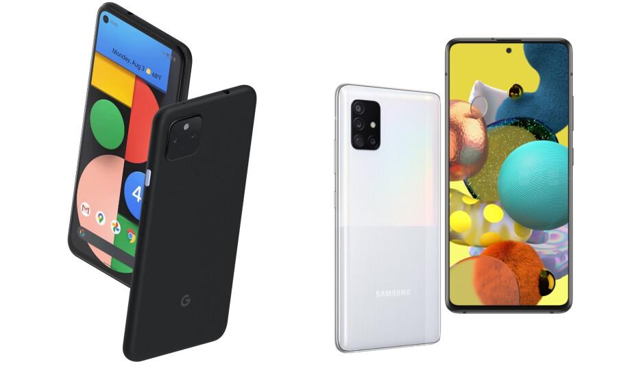 Pixel 4a 5G (left) next to the Galaxy A51 5G (right). - Google Pixel 4a 5G vs Galaxy A51 5G
