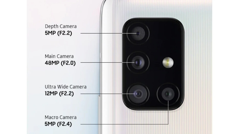 The Pixel 4a 5G has a dual camera module while the Galaxy A51 5G (shown here) has a quad camera one. - Google Pixel 4a 5G vs Galaxy A51 5G