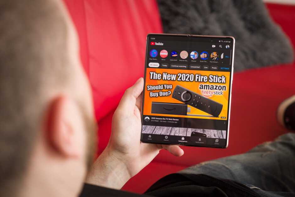 YouTube definitely hasn't been optimized for this screen size. You get to see one huge thumbnail and not much else at a glance. - Samsung Galaxy Z Fold 2 long-term review: Still exciting?