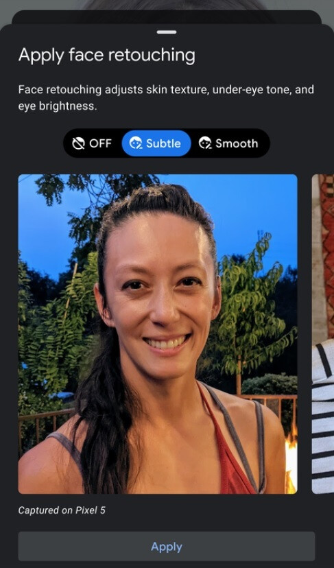 An example of the new value-neutral icons and descriptions for a retouching filter on Android - Google made this change to the Camera app on the new Pixels to preserve your mental health