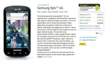 Sprint drops the price of the Samsung Epic 4G to $200 with a contract