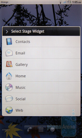 Stage widgets of the Dell Streak