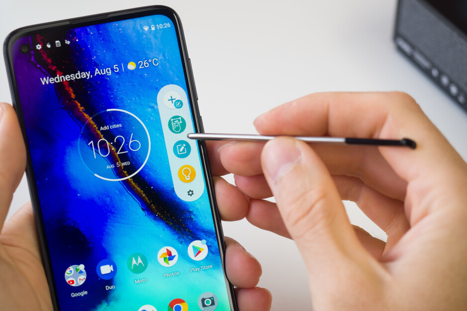 The Moto G Stylus comes with a built-in Stylus - Pixel 4a vs Moto G Stylus