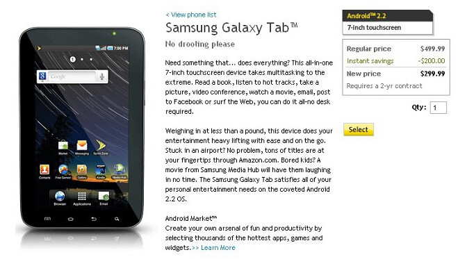 The Sprint Galaxy Tab is now just $299 on contract from Sprint - Besides dropping a pin, Sprint drops the price of the Samsung Galaxy Tab to $299
