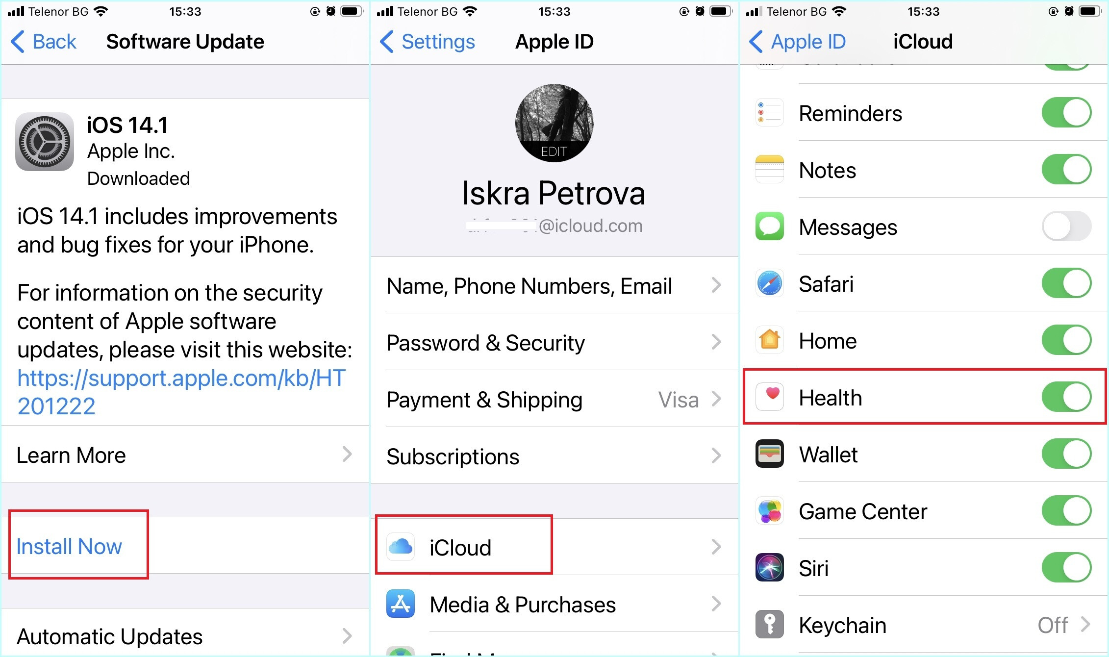 Update iPhone, Check if iCloud sync for Health data is on - How to pair your Apple Watch with your new iPhone