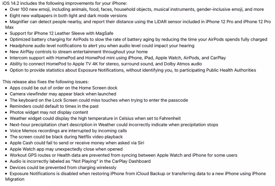 The changelist and bug fixes for iOS 14.2 - Apple brings 100 new emoji and more to the iPhone with release of iOS 14.2