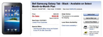 Best Buy Canada shaves off $100 from the price of Bell's Samsung Galaxy Tab