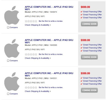 Three placeholders could be saving space for the  Apple iPad 2