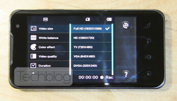 Full HD video setting on the dual-core LG Optimus 2X