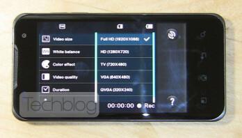 Full HD video setting on the dual-core LG Optimus 2X
