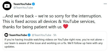 YouTube announces that service has been restored - How did you survive when YouTube was down for two hours on Wednesday?
