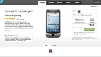T-Mobile G2 is now selling for the easy to tolerate price of free