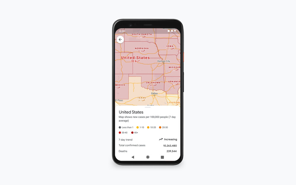 Google updates its COVID-19 layer in Maps