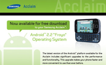 Samsung Acclaim for US Cellular is finally moving up to Android 2.2 Froyo