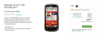 Available today from T-Mobile at the contract price of $99.99 is the Motorola CLIQ 2