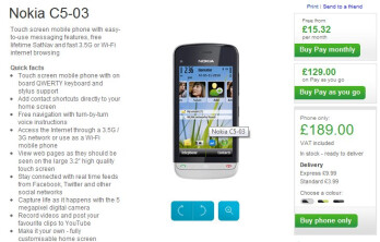 Nokia C5-03 is now available through Nokia UK's web site.