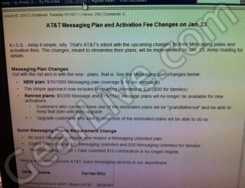 Leaked Best Buy document showing that AT&T will be offering new text messaging plans next week.