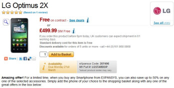 Expansys is offering pre-orders for the LG Optimus 2X.