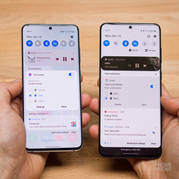 One UI 3.0 with Android 11 on the left phone (S20), One UI 2.5 with Android 10 on the right phone (S20+) - Samsung One UI 3.0 review