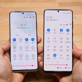 Notice the rounded icons in the first picture and the transparent notification dropdown background in the second - Samsung One UI 3.0 review