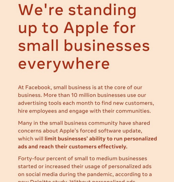 Facebook runs a full page ad in several big city newspapers attacking the 30% Apple Tax - Facebook pissed at Apple's new plan requiring users opt-in to receive targeted ads