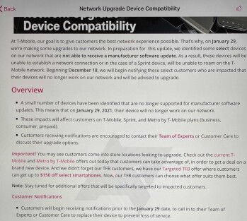 Internal document for T-Mobile reps leaks - These phones will stop working on T-Mobile next month