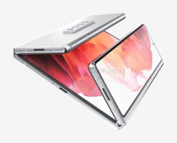 Render of the Samsung Galaxy Z Fold 3 Dual-Fold - Samsung Galaxy Z Fold 3 renders leak
