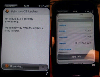 webOS 2.1.0 is being pushed out to the Palm Pre 2?